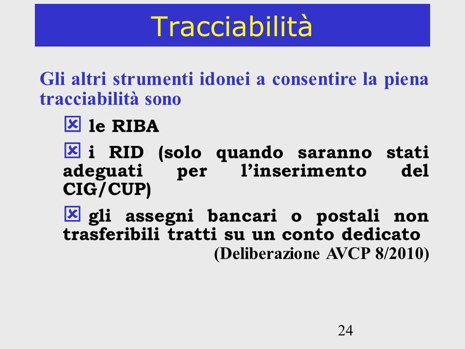 24 Tracciabilità Gli altri strumenti idonei a consentire la piena tracciabilità sono le RIBA i RID (solo quando saranno stati adeguati per linseriment