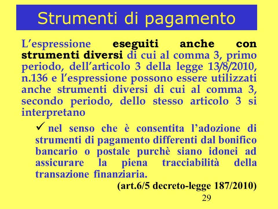 29 Strumenti di pagamento Lespressione eseguiti anche con strumenti diversi di cui al comma 3, primo periodo, dellarticolo 3 della legge 13/8/2010, n.