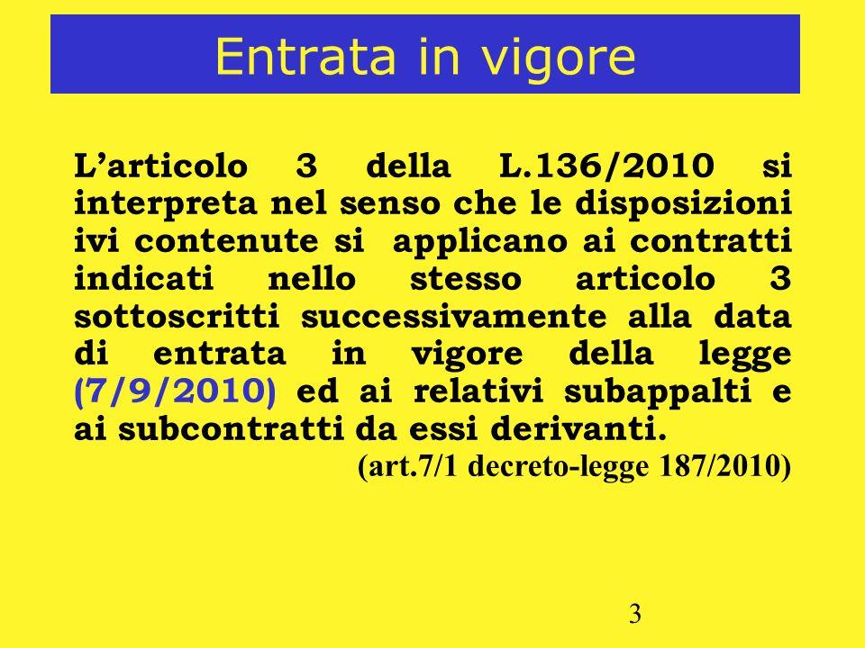 3 Entrata in vigore Larticolo 3 della L.136/2010 si interpreta nel senso che le disposizioni ivi contenute si applicano ai contratti indicati nello st