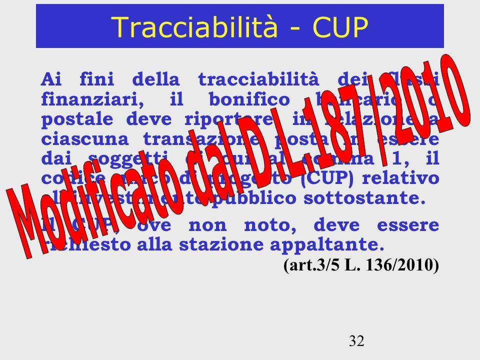 32 Tracciabilità - CUP Ai fini della tracciabilità dei flussi finanziari, il bonifico bancario o postale deve riportare, in relazione a ciascuna trans