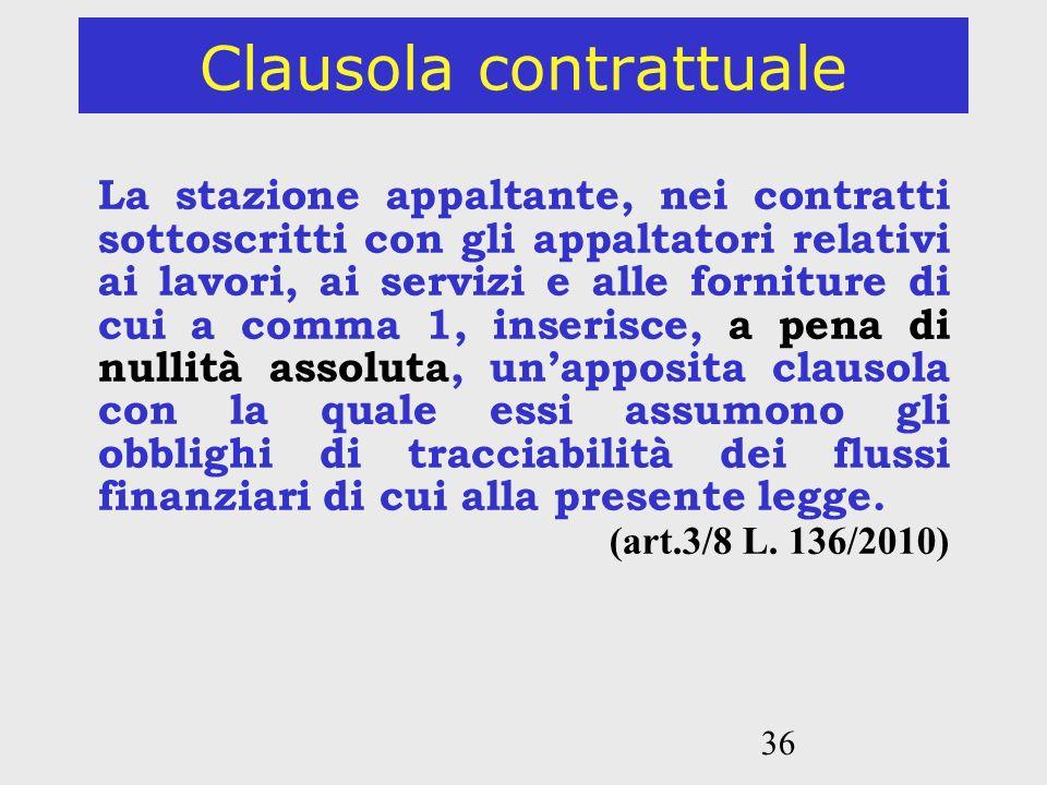 36 Clausola contrattuale La stazione appaltante, nei contratti sottoscritti con gli appaltatori relativi ai lavori, ai servizi e alle forniture di cui