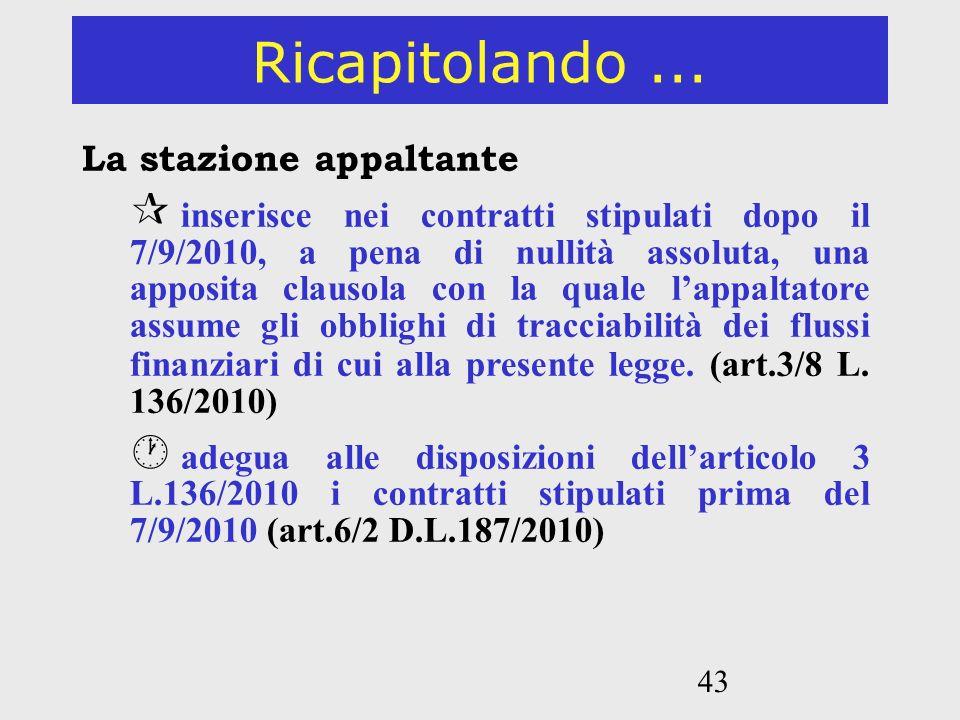 43 Ricapitolando... La stazione appaltante inserisce nei contratti stipulati dopo il 7/9/2010, a pena di nullità assoluta, una apposita clausola con l