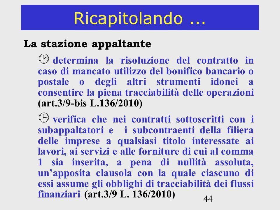44 Ricapitolando... La stazione appaltante determina la risoluzione del contratto in caso di mancato utilizzo del bonifico bancario o postale o degli