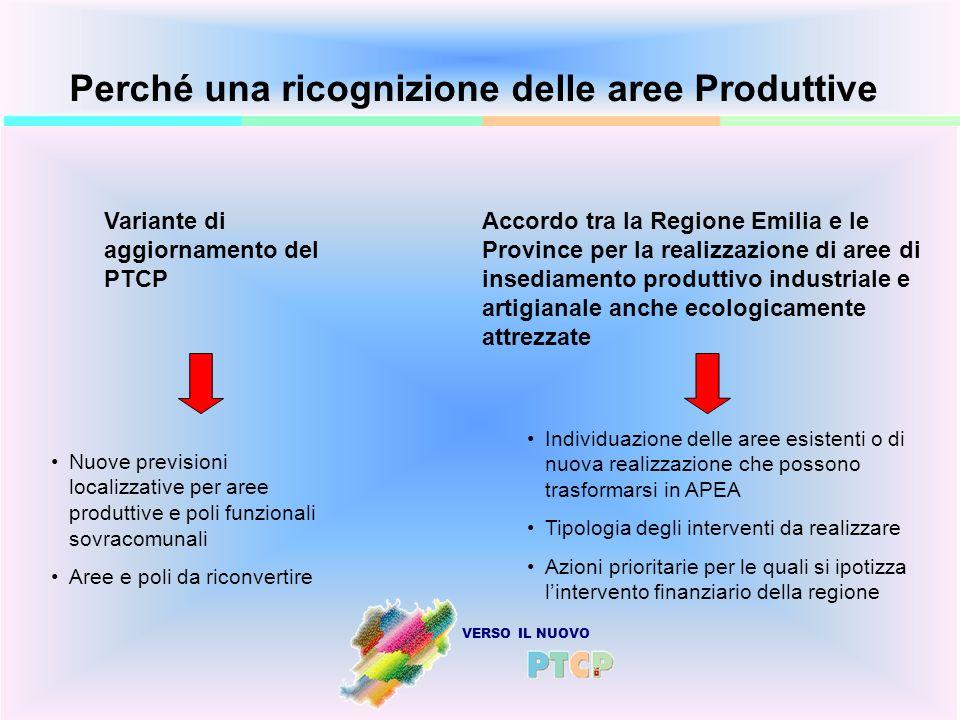 Perché una ricognizione delle aree Produttive Variante di aggiornamento del PTCP Accordo tra la Regione Emilia e le Province per la realizzazione di a