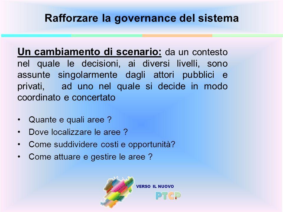 VERSO IL NUOVO Rafforzare la governance del sistema Quante e quali aree ? Dove localizzare le aree ? Come suddividere costi e opportunità? Come attuar