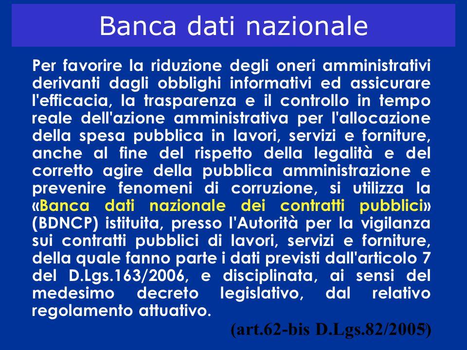 10 Banca dati nazionale Per favorire la riduzione degli oneri amministrativi derivanti dagli obblighi informativi ed assicurare l'efficacia, la traspa