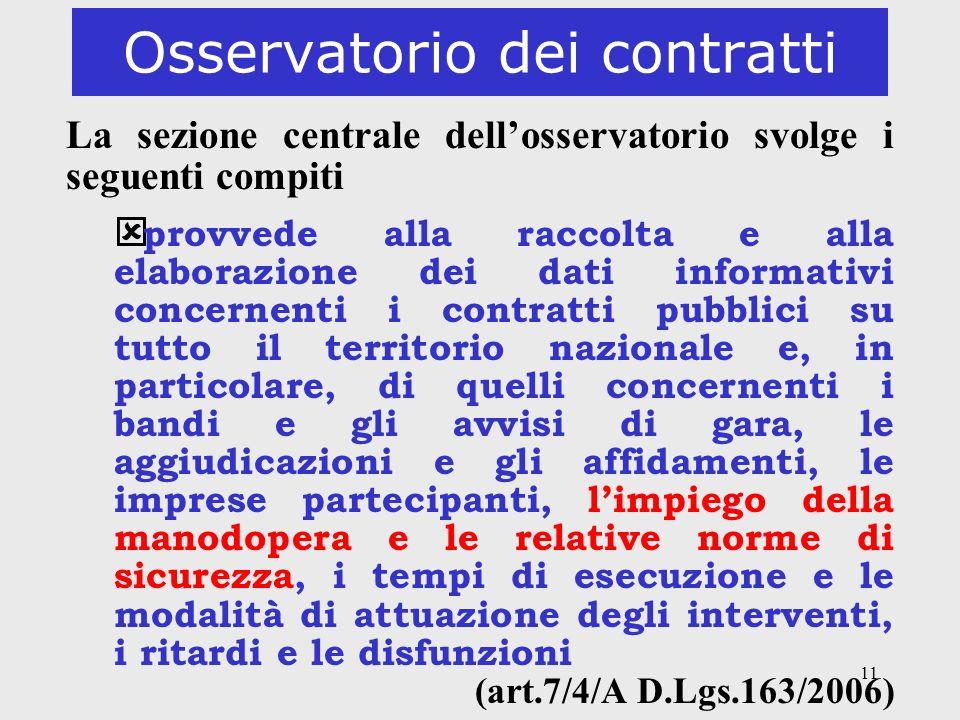 11 Osservatorio dei contratti La sezione centrale dellosservatorio svolge i seguenti compiti provvede alla raccolta e alla elaborazione dei dati infor