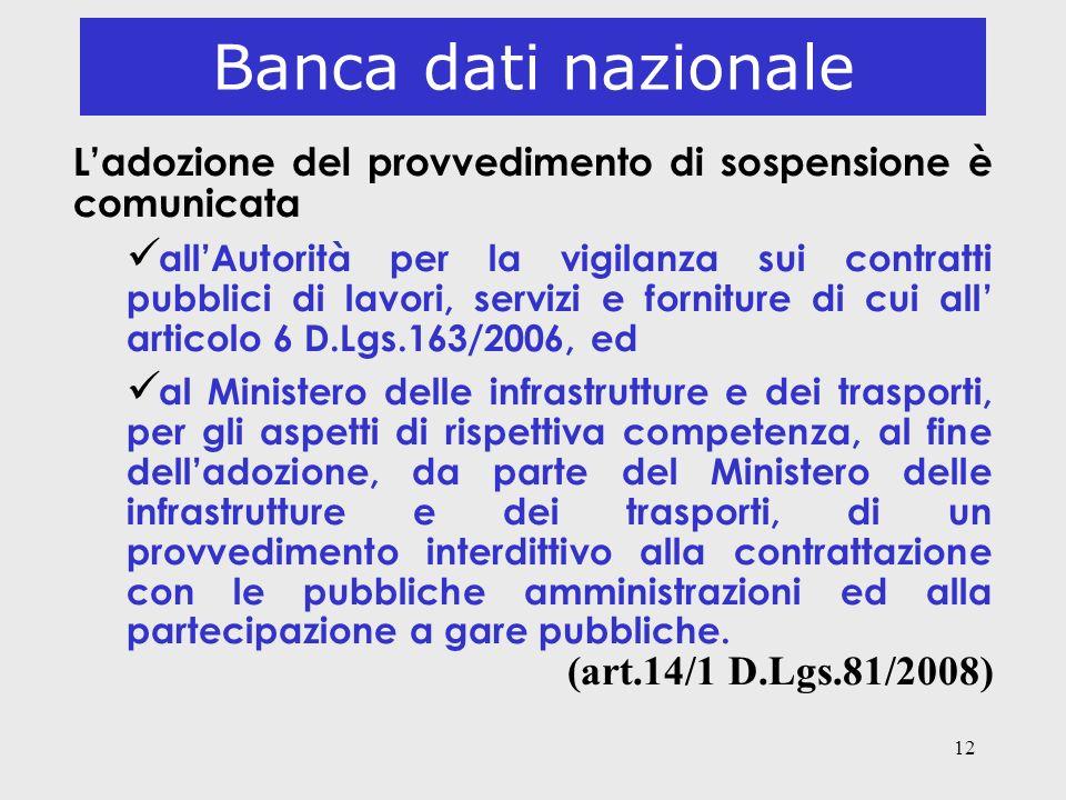 12 Banca dati nazionale Ladozione del provvedimento di sospensione è comunicata ü allAutorità per la vigilanza sui contratti pubblici di lavori, servi