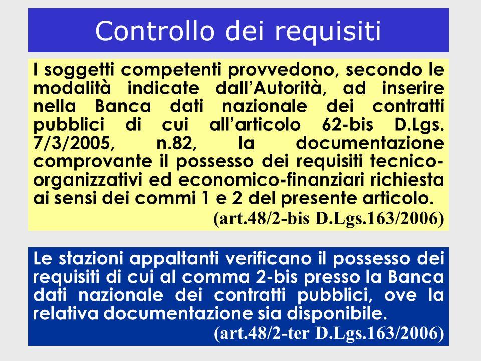 13 Controllo dei requisiti I soggetti competenti provvedono, secondo le modalità indicate dallAutorità, ad inserire nella Banca dati nazionale dei con