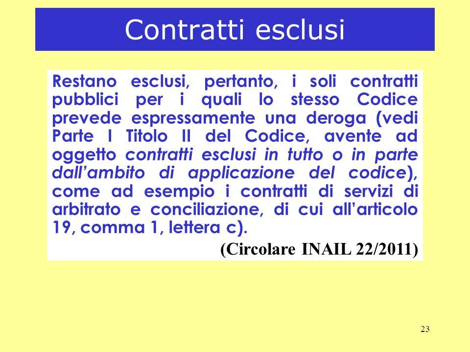 23 Contratti esclusi Restano esclusi, pertanto, i soli contratti pubblici per i quali lo stesso Codice prevede espressamente una deroga (vedi Parte I