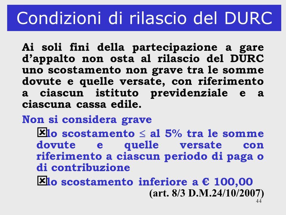 44 Condizioni di rilascio del DURC Ai soli fini della partecipazione a gare dappalto non osta al rilascio del DURC uno scostamento non grave tra le so