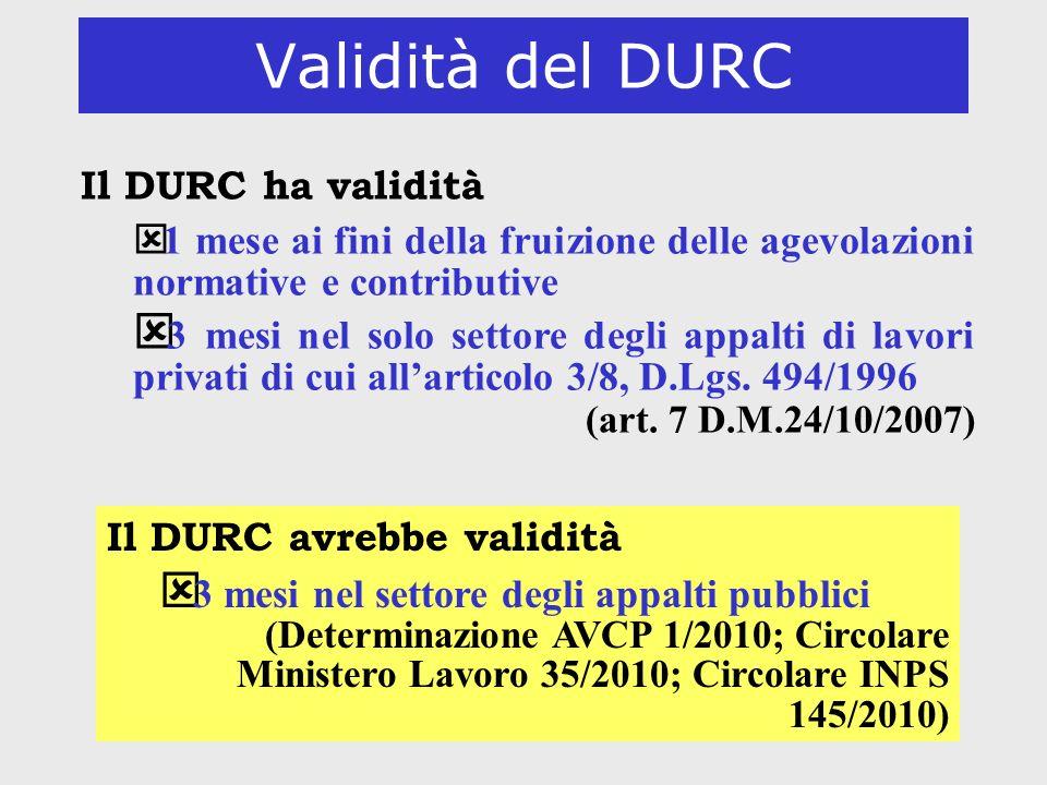 52 Validità del DURC Il DURC ha validità ý 1 mese ai fini della fruizione delle agevolazioni normative e contributive ý 3 mesi nel solo settore degli