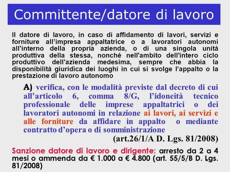 77 Committente/datore di lavoro Il datore di lavoro, in caso di affidamento di lavori, servizi e forniture allimpresa appaltatrice o a lavoratori auto