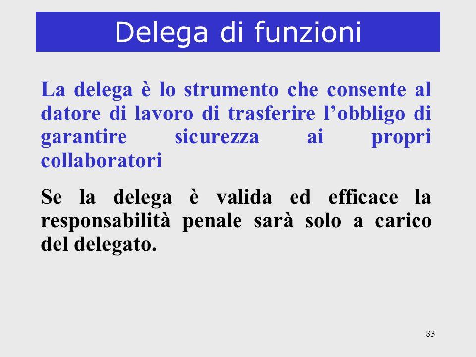 83 Delega di funzioni La delega è lo strumento che consente al datore di lavoro di trasferire lobbligo di garantire sicurezza ai propri collaboratori