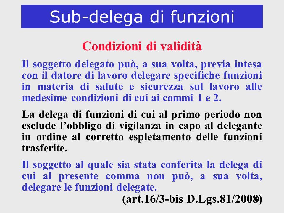 91 Sub-delega di funzioni Condizioni di validità Il soggetto delegato può, a sua volta, previa intesa con il datore di lavoro delegare specifiche funz