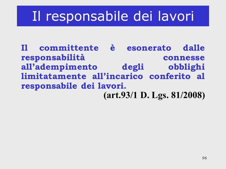 96 Il responsabile dei lavori Il committente è esonerato dalle responsabilità connesse alladempimento degli obblighi limitatamente allincarico conferi