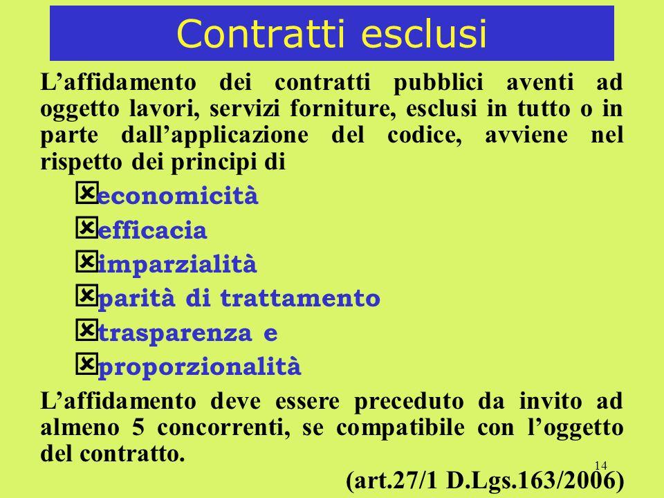 14 Contratti esclusi Laffidamento dei contratti pubblici aventi ad oggetto lavori, servizi forniture, esclusi in tutto o in parte dallapplicazione del