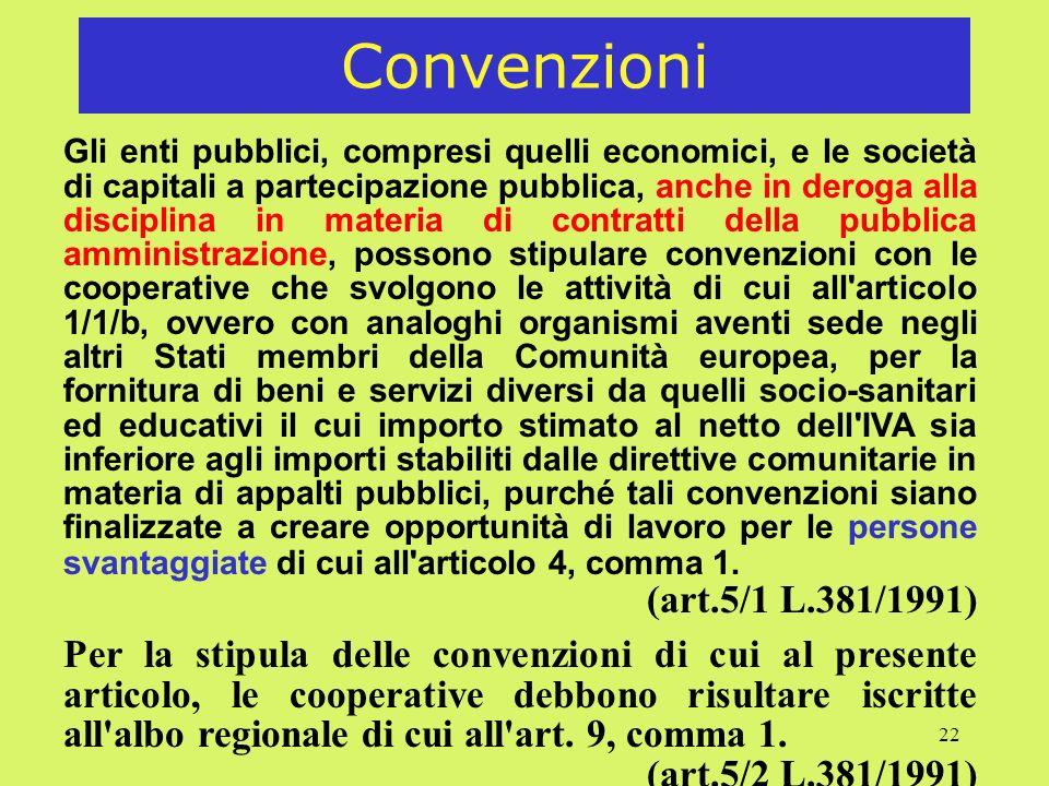 22 Convenzioni Gli enti pubblici, compresi quelli economici, e le società di capitali a partecipazione pubblica, anche in deroga alla disciplina in ma