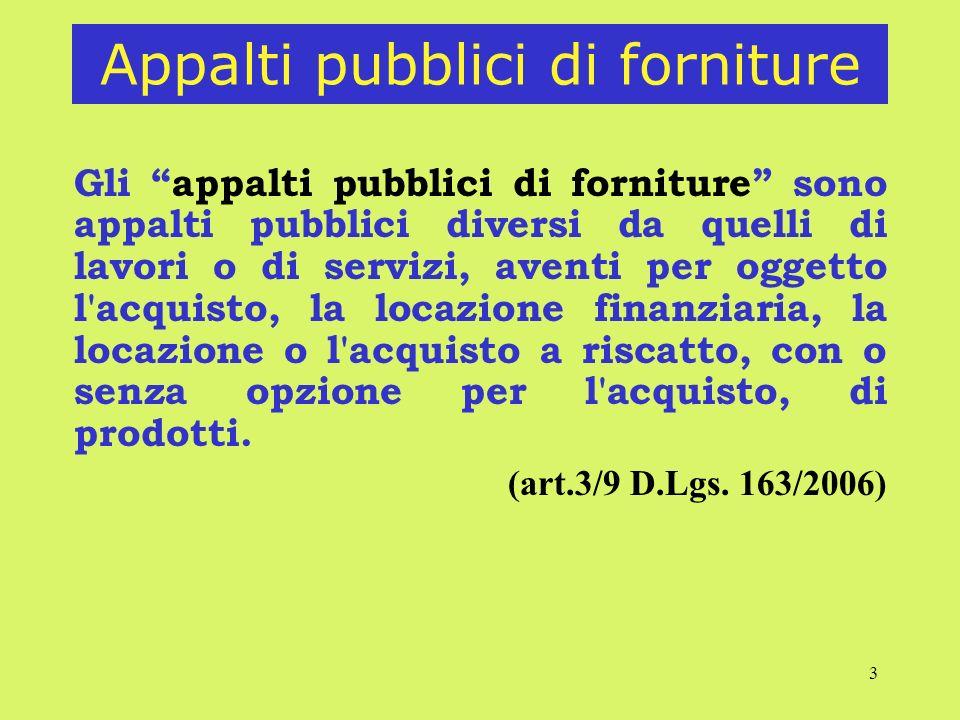 3 Appalti pubblici di forniture Gli appalti pubblici di forniture sono appalti pubblici diversi da quelli di lavori o di servizi, aventi per oggetto l