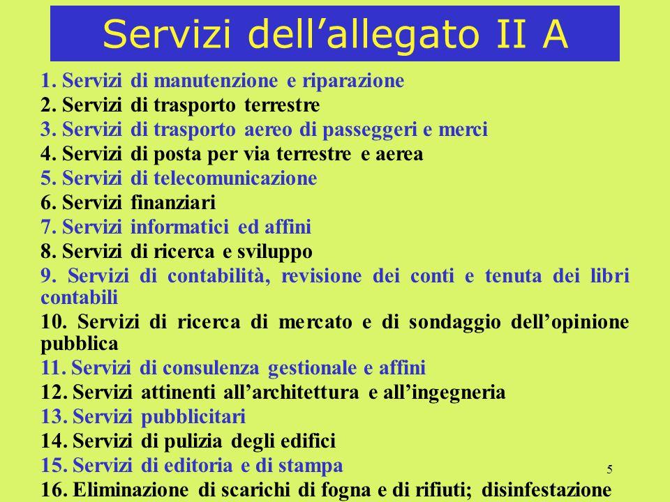 5 Servizi dellallegato II A 1.Servizi di manutenzione e riparazione 2.