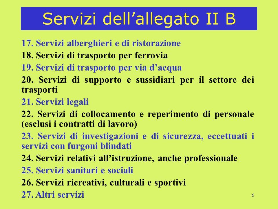 6 Servizi dellallegato II B 17.Servizi alberghieri e di ristorazione 18.