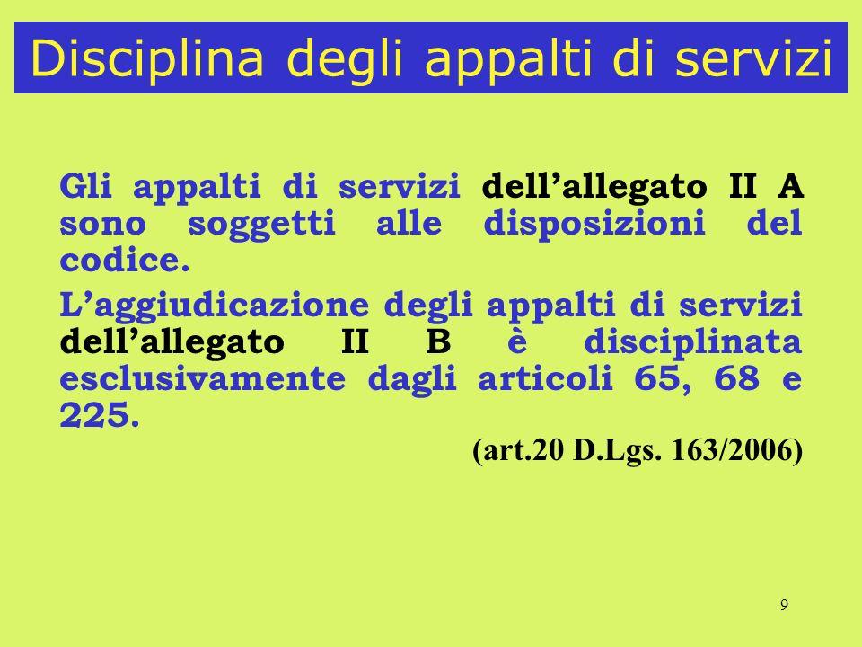 9 Disciplina degli appalti di servizi Gli appalti di servizi dellallegato II A sono soggetti alle disposizioni del codice. Laggiudicazione degli appal