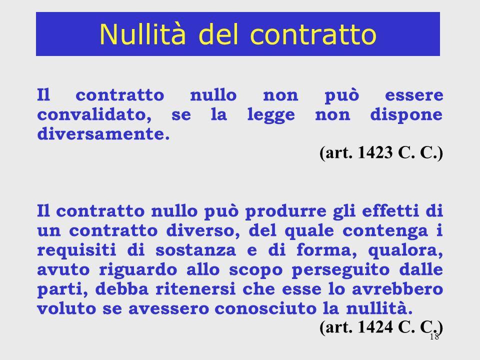 18 Nullità del contratto Il contratto nullo non può essere convalidato, se la legge non dispone diversamente.