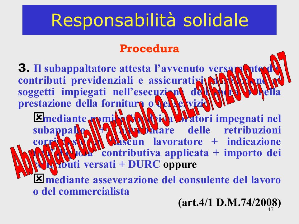 47 Responsabilità solidale Procedura 3.