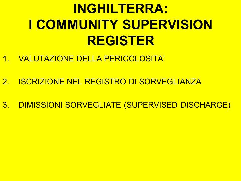INGHILTERRA: I COMMUNITY SUPERVISION REGISTER 1.VALUTAZIONE DELLA PERICOLOSITA 2.ISCRIZIONE NEL REGISTRO DI SORVEGLIANZA 3.DIMISSIONI SORVEGLIATE (SUPERVISED DISCHARGE)