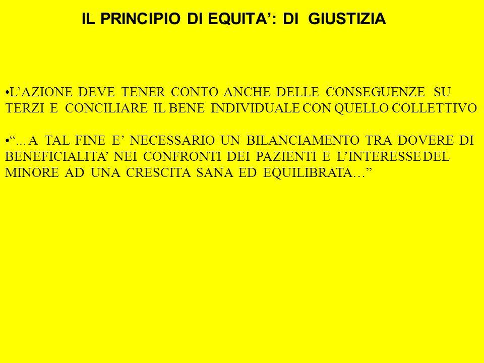 LAZIONE DEVE TENER CONTO ANCHE DELLE CONSEGUENZE SU TERZI E CONCILIARE IL BENE INDIVIDUALE CON QUELLO COLLETTIVO...