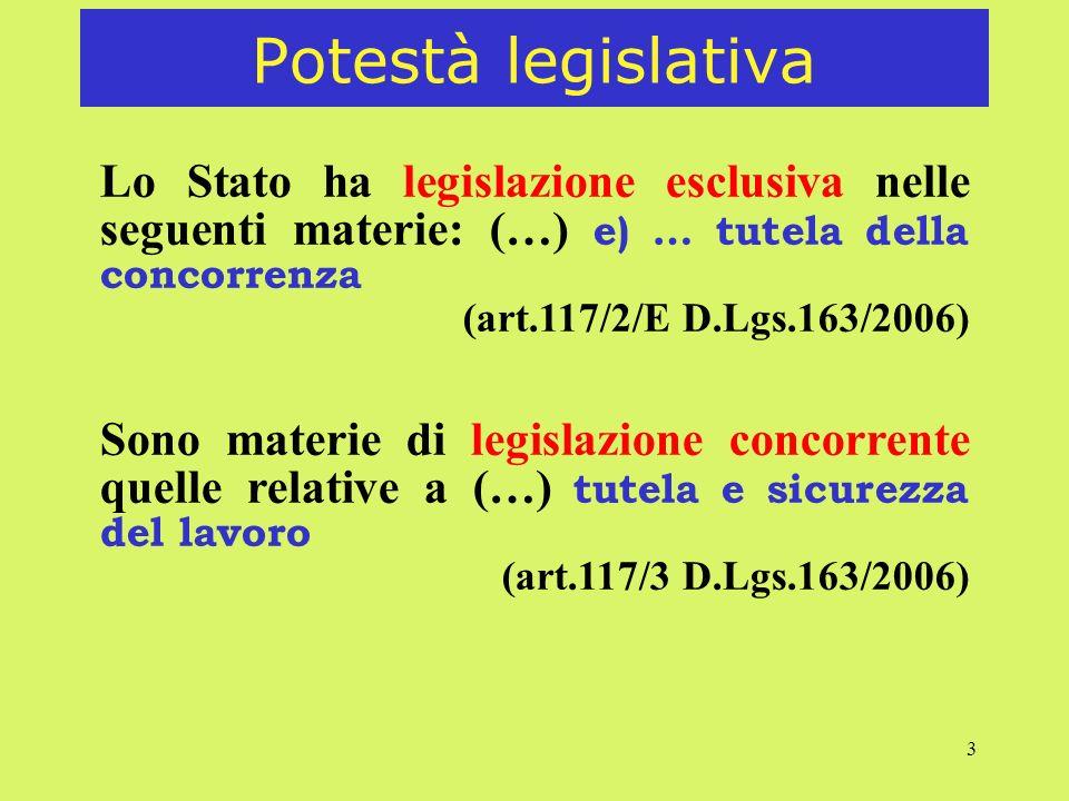 3 Potestà legislativa Lo Stato ha legislazione esclusiva nelle seguenti materie: (…) e) … tutela della concorrenza (art.117/2/E D.Lgs.163/2006) Sono materie di legislazione concorrente quelle relative a (…) tutela e sicurezza del lavoro (art.117/3 D.Lgs.163/2006)