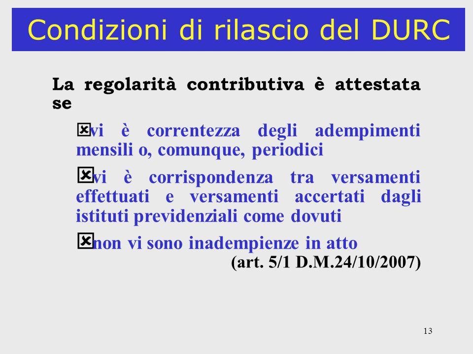 13 Condizioni di rilascio del DURC La regolarità contributiva è attestata se ý vi è correntezza degli adempimenti mensili o, comunque, periodici ý vi