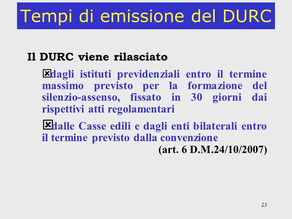 23 Tempi di emissione del DURC Il DURC viene rilasciato ý dagli istituti previdenziali entro il termine massimo previsto per la formazione del silenzi