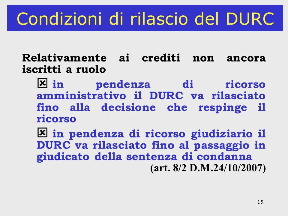 15 Condizioni di rilascio del DURC Relativamente ai crediti non ancora iscritti a ruolo in pendenza di ricorso amministrativo il DURC va rilasciato fi