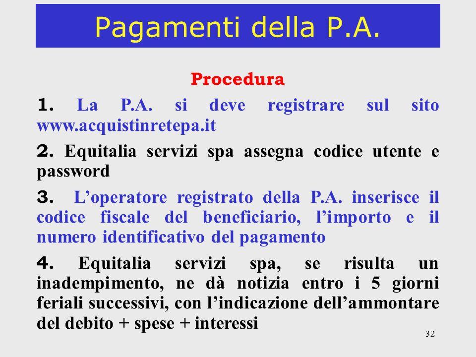 32 Pagamenti della P.A. Procedura 1. La P.A. si deve registrare sul sito www.acquistinretepa.it 2. Equitalia servizi spa assegna codice utente e passw