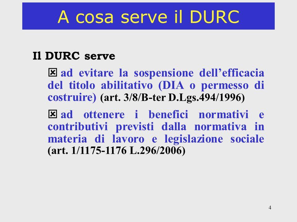 4 A cosa serve il DURC Il DURC serve ad evitare la sospensione dellefficacia del titolo abilitativo (DIA o permesso di costruire) (art. 3/8/B-ter D.Lg