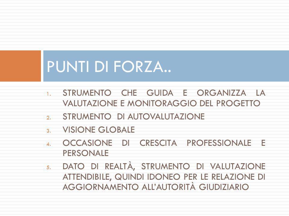 1. STRUMENTO CHE GUIDA E ORGANIZZA LA VALUTAZIONE E MONITORAGGIO DEL PROGETTO 2. STRUMENTO DI AUTOVALUTAZIONE 3. VISIONE GLOBALE 4. OCCASIONE DI CRESC