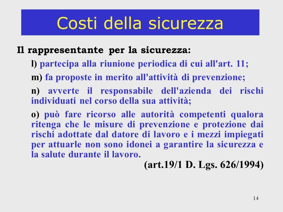14 Costi della sicurezza Il rappresentante per la sicurezza: l) partecipa alla riunione periodica di cui all art.