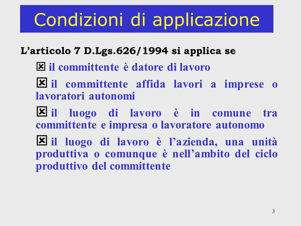 3 Condizioni di applicazione Larticolo 7 D.Lgs.626/1994 si applica se il committente è datore di lavoro il committente affida lavori a imprese o lavoratori autonomi il luogo di lavoro è in comune tra committente e impresa o lavoratore autonomo il luogo di lavoro è lazienda, una unità produttiva o comunque è nellambito del ciclo produttivo del committente