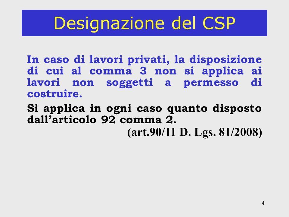 4 Designazione del CSP In caso di lavori privati, la disposizione di cui al comma 3 non si applica ai lavori non soggetti a permesso di costruire.