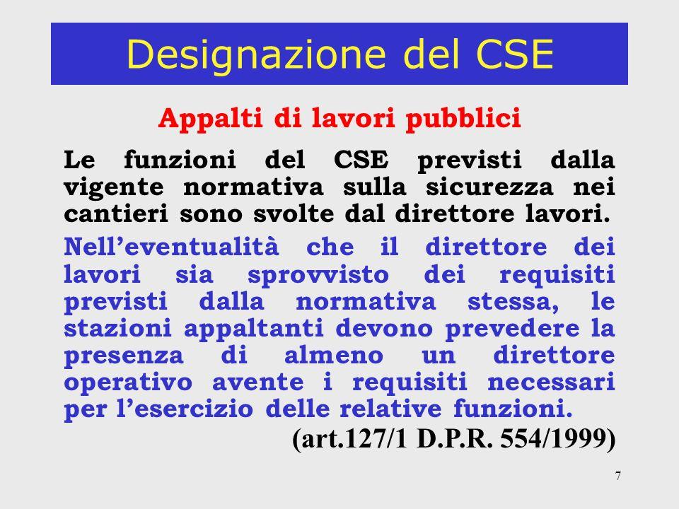 7 Designazione del CSE Appalti di lavori pubblici Le funzioni del CSE previsti dalla vigente normativa sulla sicurezza nei cantieri sono svolte dal direttore lavori.