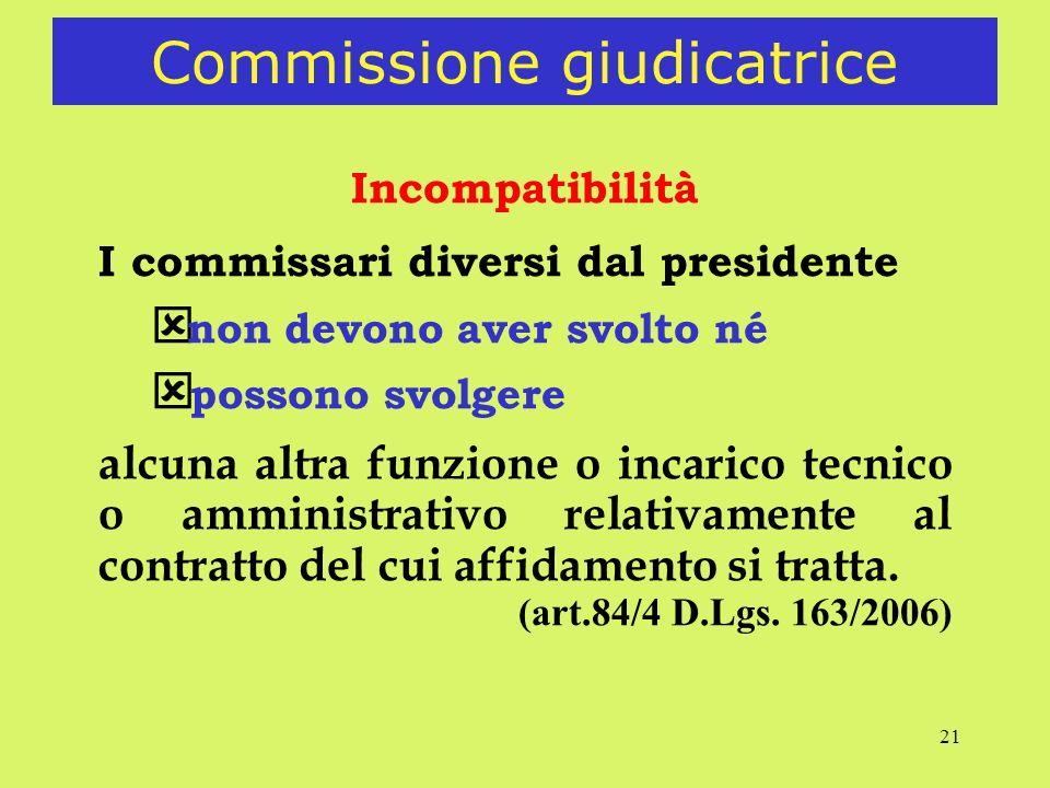 21 Commissione giudicatrice Incompatibilità I commissari diversi dal presidente non devono aver svolto né ý possono svolgere alcuna altra funzione o incarico tecnico o amministrativo relativamente al contratto del cui affidamento si tratta.