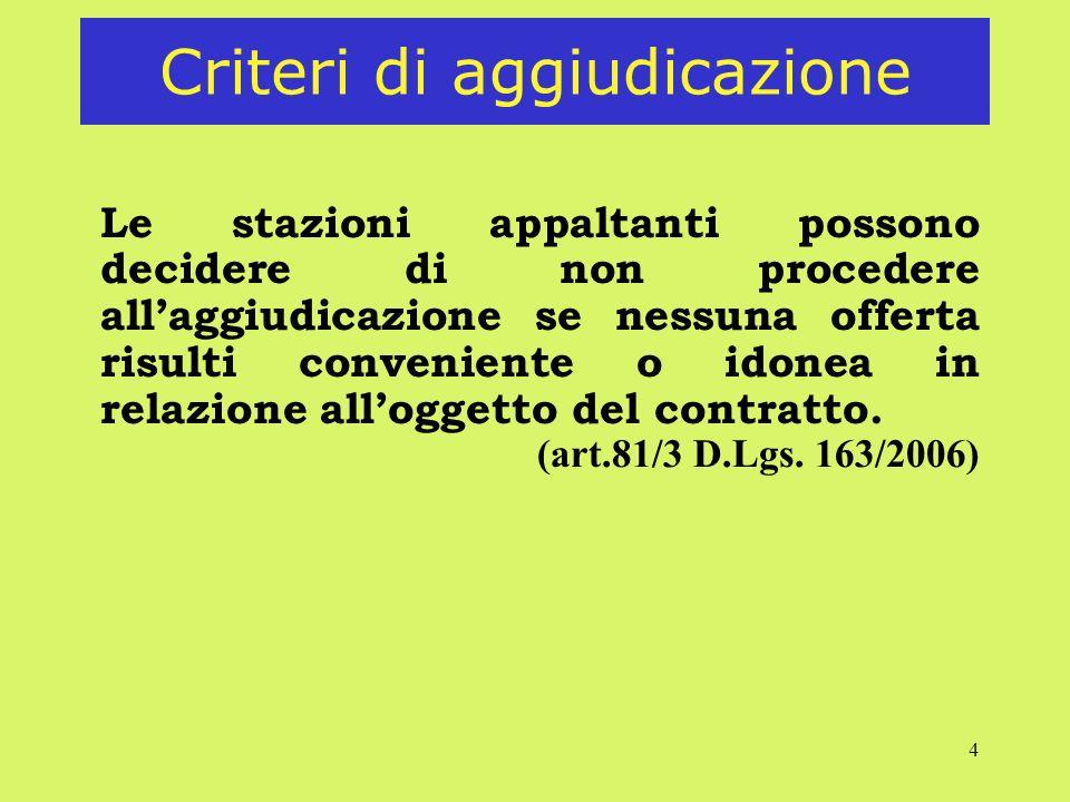 4 Criteri di aggiudicazione Le stazioni appaltanti possono decidere di non procedere allaggiudicazione se nessuna offerta risulti conveniente o idonea in relazione alloggetto del contratto.
