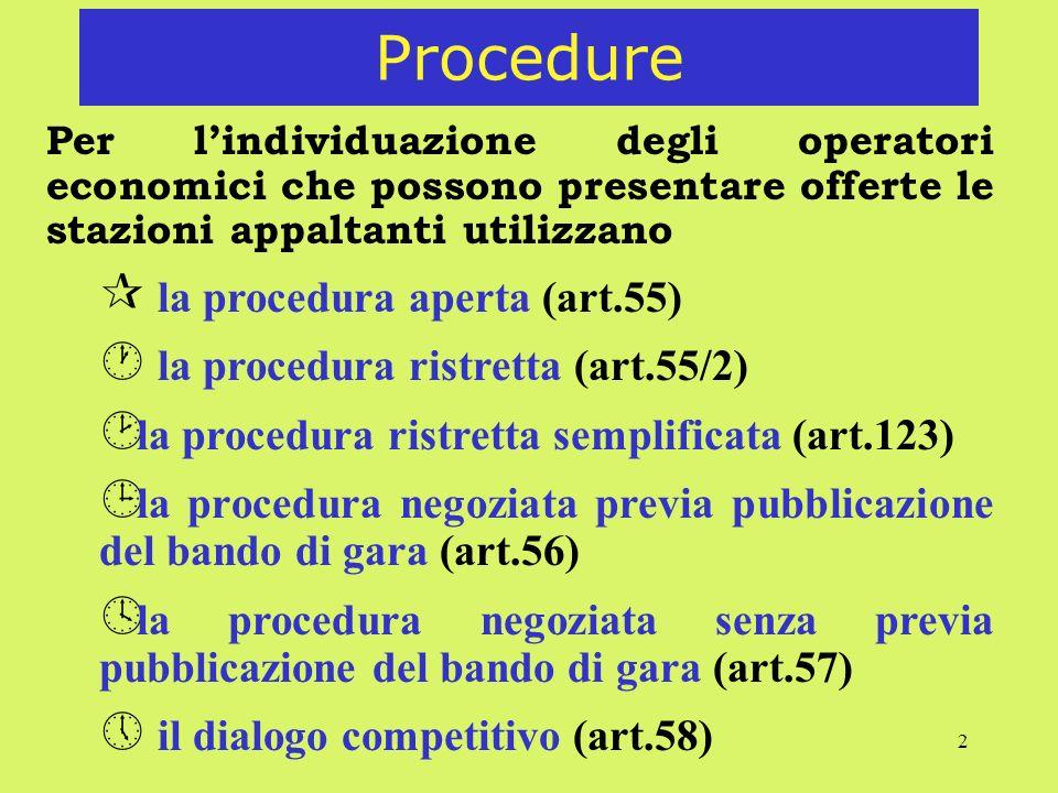 2 Procedure Per lindividuazione degli operatori economici che possono presentare offerte le stazioni appaltanti utilizzano ¶ la procedura aperta (art.55) · la procedura ristretta (art.55/2) ¸ la procedura ristretta semplificata (art.123) ¹ la procedura negoziata previa pubblicazione del bando di gara (art.56) º la procedura negoziata senza previa pubblicazione del bando di gara (art.57) » il dialogo competitivo (art.58)