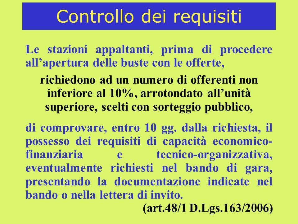 10 Controllo dei requisiti Le stazioni appaltanti, prima di procedere allapertura delle buste con le offerte, richiedono ad un numero di offerenti non