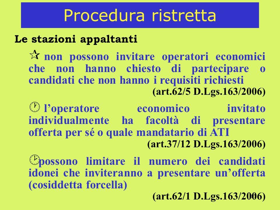 17 Procedura ristretta Le stazioni appaltanti ¶ non possono invitare operatori economici che non hanno chiesto di partecipare o candidati che non hann