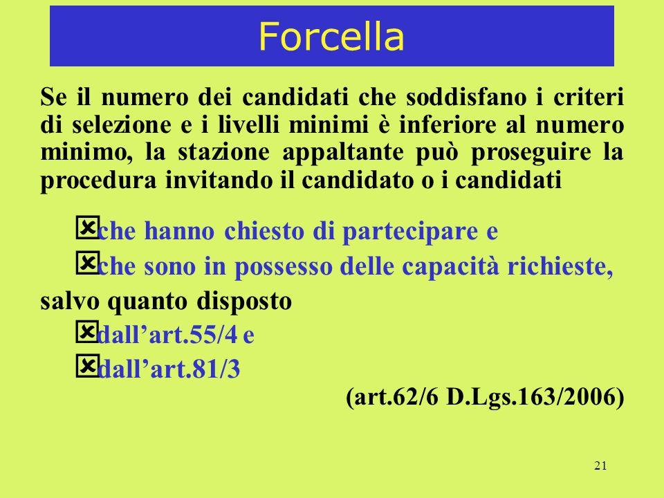 21 Forcella Se il numero dei candidati che soddisfano i criteri di selezione e i livelli minimi è inferiore al numero minimo, la stazione appaltante p