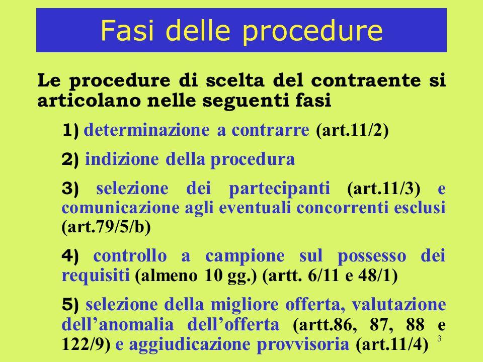3 Fasi delle procedure Le procedure di scelta del contraente si articolano nelle seguenti fasi 1) determinazione a contrarre (art.11/2) 2) indizione d