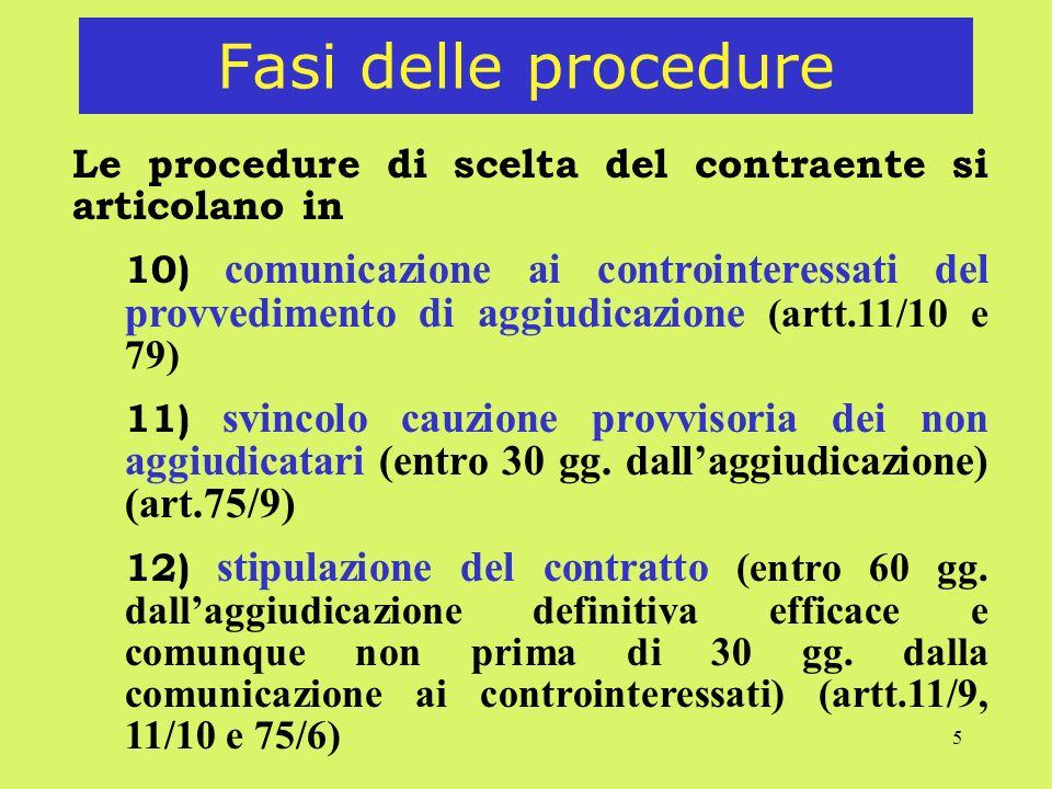 5 Fasi delle procedure Le procedure di scelta del contraente si articolano in 10) comunicazione ai controinteressati del provvedimento di aggiudicazio