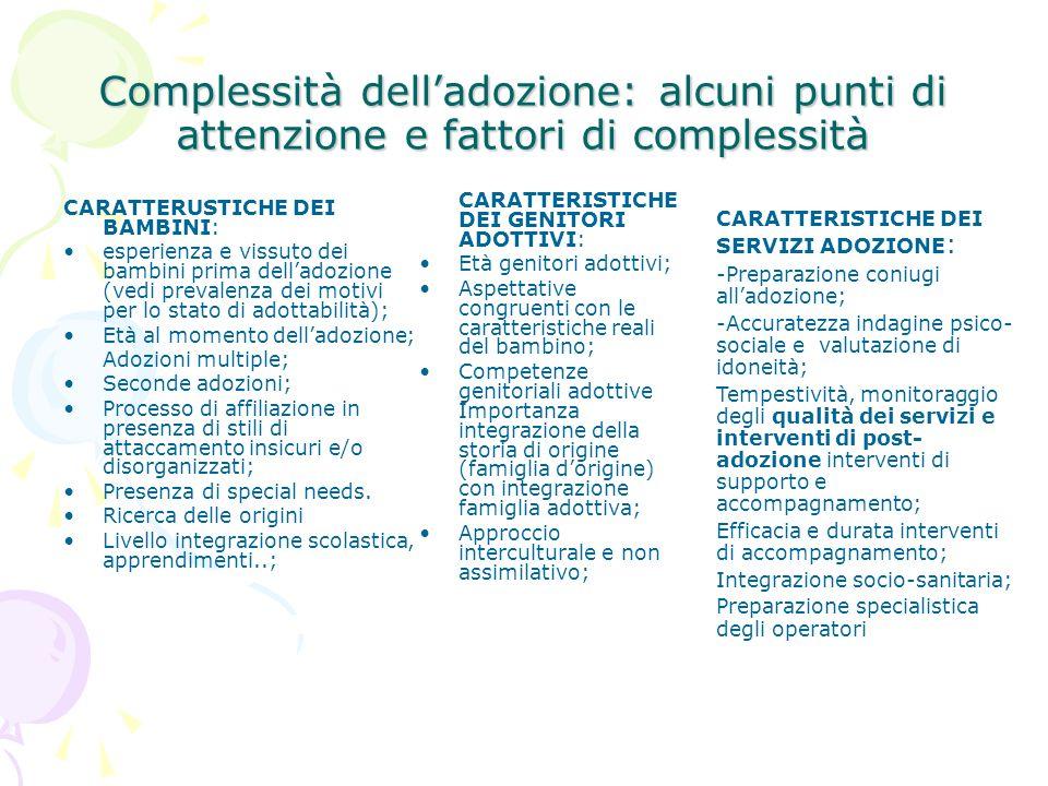 Complessità delladozione: alcuni punti di attenzione e fattori di complessità CARATTERUSTICHE DEI BAMBINI: esperienza e vissuto dei bambini prima dell
